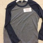 Triblend 3/4 Sleeve Baseball Tee Grey with Navy