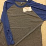 Triblend 3/4 Sleeve Baseball Tee Grey with Royal
